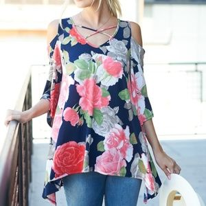 Womens Plus Size Coral Floral Tunic Top 2X